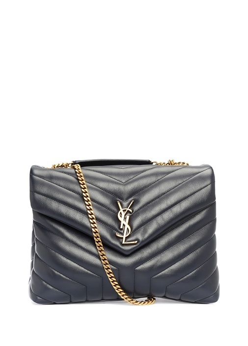 Metelasse Medium Siyah Logolu Kadın Deri Çanta