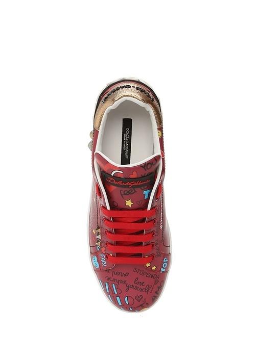 Portofino Kırmızı Baskılı Kadın Deri Sneaker