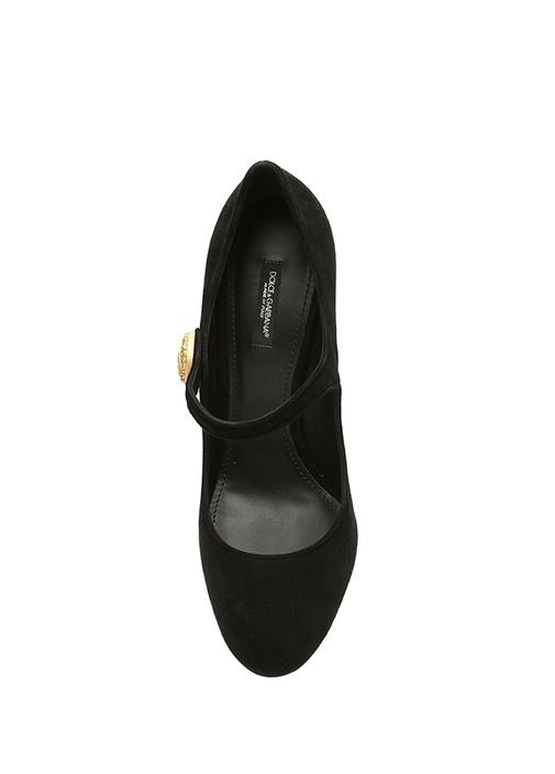 Mary Jane Siyah Gold Tokalı Süet Topuklu Ayakkabı