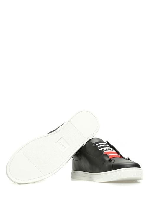 Siyah Logo Şerit Detaylı Kadın Deri Sneaker