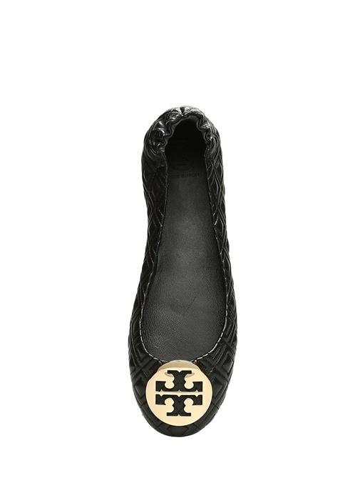 Siyah Gold Logolu Kadın Deri Babet
