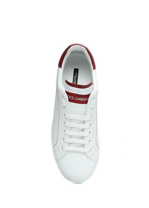 Beyaz Bordo Logolu Erkek Deri Sneaker