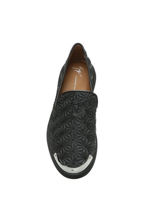 Siyah Logolu Geometrik Dokulu Erkek Deri Ayakkabı