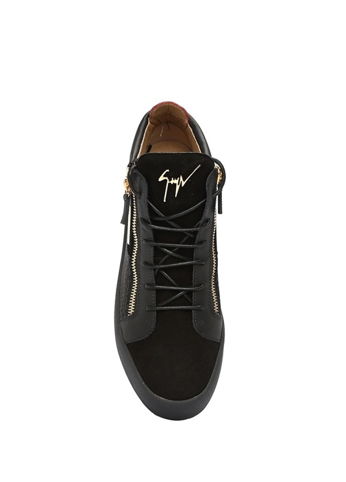 Camoscio Siyah Kırmızı Logolu Erkek Süet Sneaker