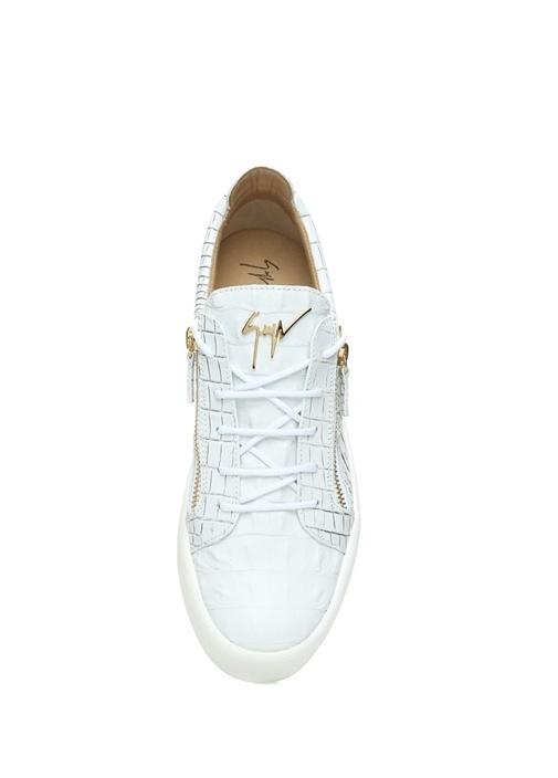 Beyaz Yılan Derisi Dokulu Erkek Deri Sneaker