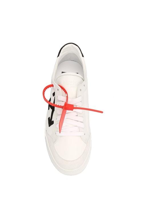 Beyaz Bağcıklı Logolu Kadın Deri Sneaker