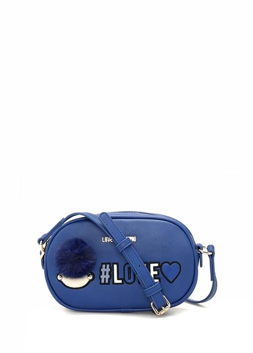 Lacivert Nakış Detaylı Logolu Kadın Çanta