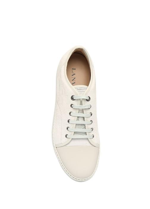 Beyaz Dokulu Erkek Nubuk Sneaker