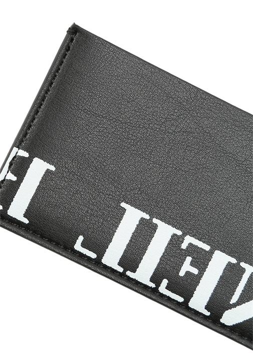 Siyah Logo Baskılı Erkek Deri Kartlık