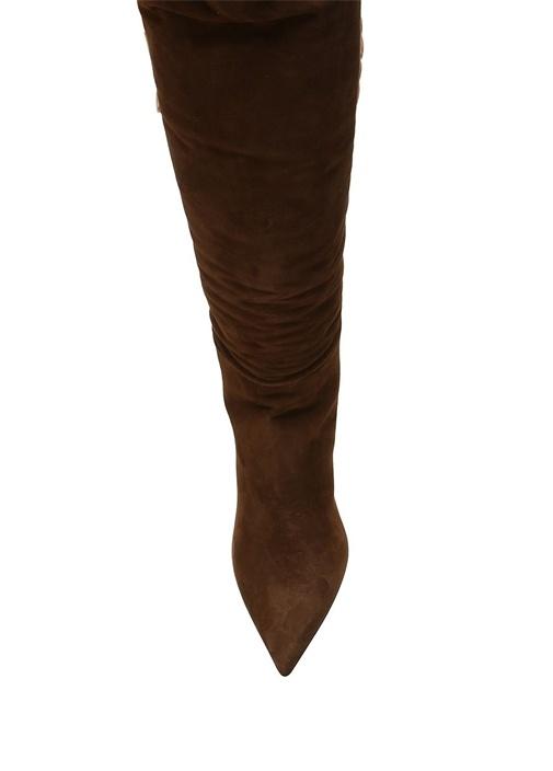 Kahverengi Sivri Burun Kadın Süet Çizme