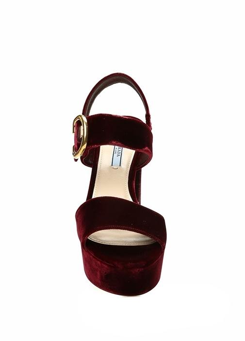 Bordo Logolu Kadın Kadife Gece Ayakkabısı