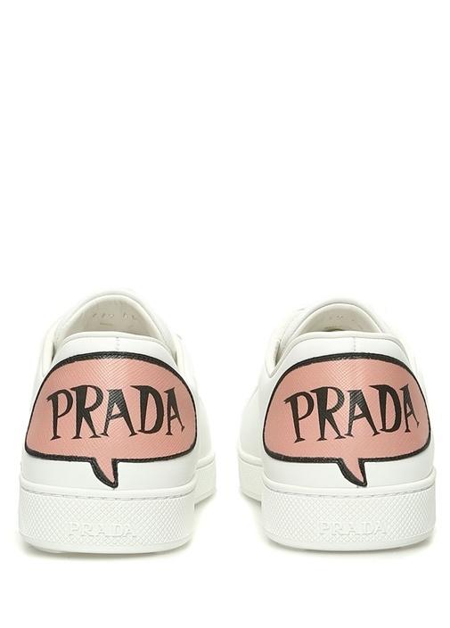 Beyaz Logo Baskılı Kadın Deri Sneaker