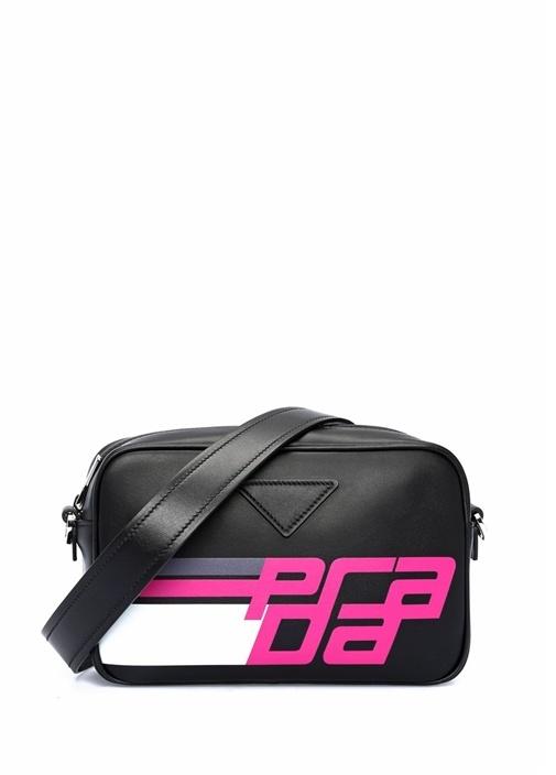 Siyah Pembe Logolu Şeritli Kadın Deri Omuz Çantası