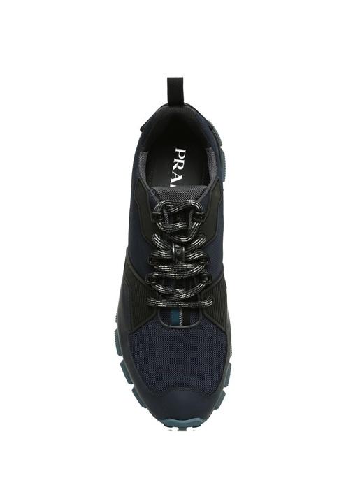 Lacivert Logolu File Dokulu Erkek Sneaker
