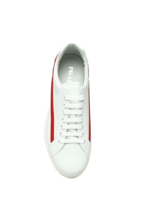 Beyaz Logolu Şeritli Erkek Deri Sneaker