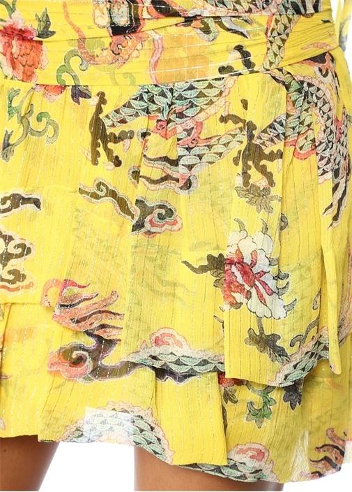 Dahlia Sarı Çiçekli Katlı Pileli Mini İpek Etek