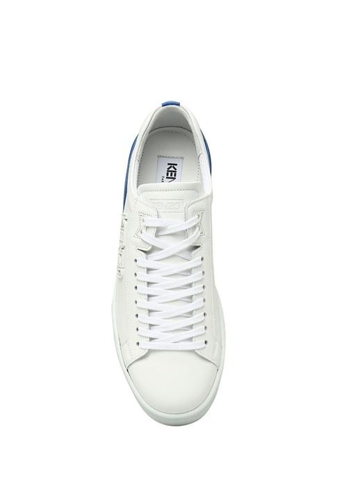 Beyaz Mavi Logolu Kadın Deri Sneaker