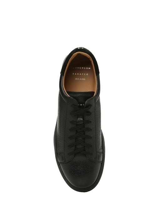Siyah Süet Detaylı Erkek Deri Sneaker