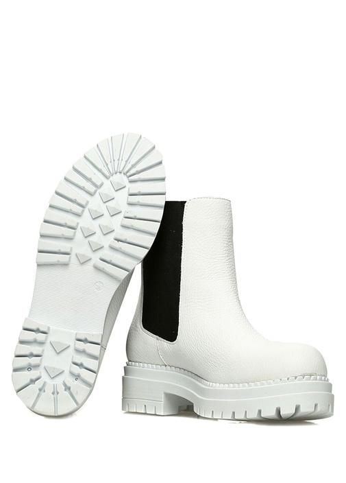 Beyaz Siyah Kadın Deri Bot