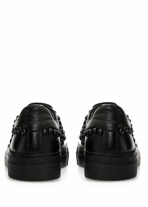 Siyah Yuvarlak Burun Trok Detaylı KadınSneaker