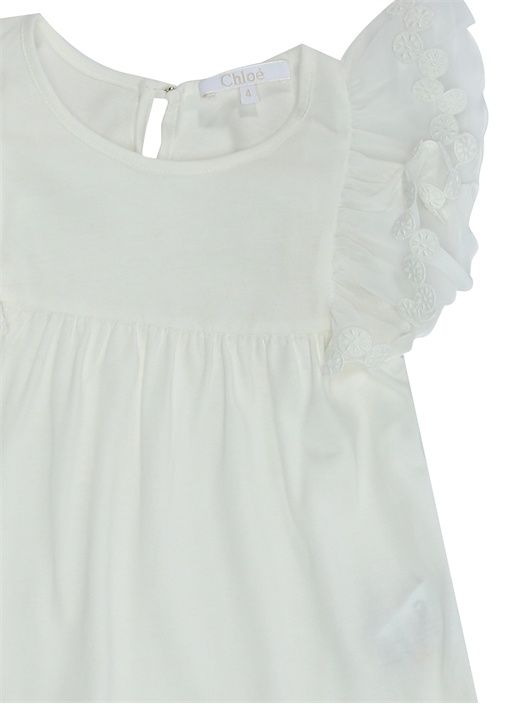 Beyaz Kolları Tül Detaylı Kız Çocuk Elbise