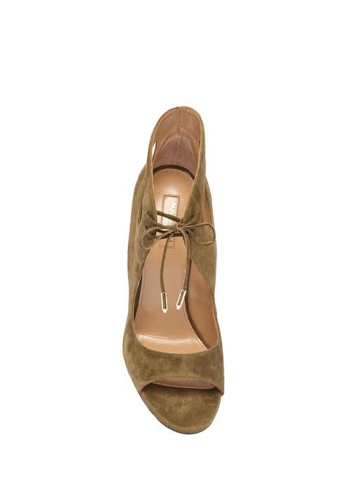 Sonam Haki Lazer Kesim Detaylı Kadın Süet Sandalet