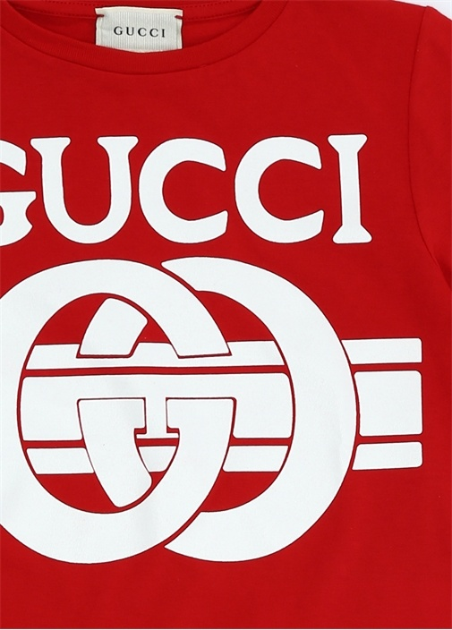 Kırmızı Logo Baskılı Erkek Çocuk Basic T-shirt