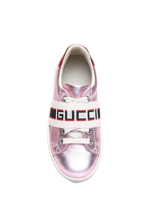 Pembe Logo Bantlı Kız Çocuk Deri Sneaker
