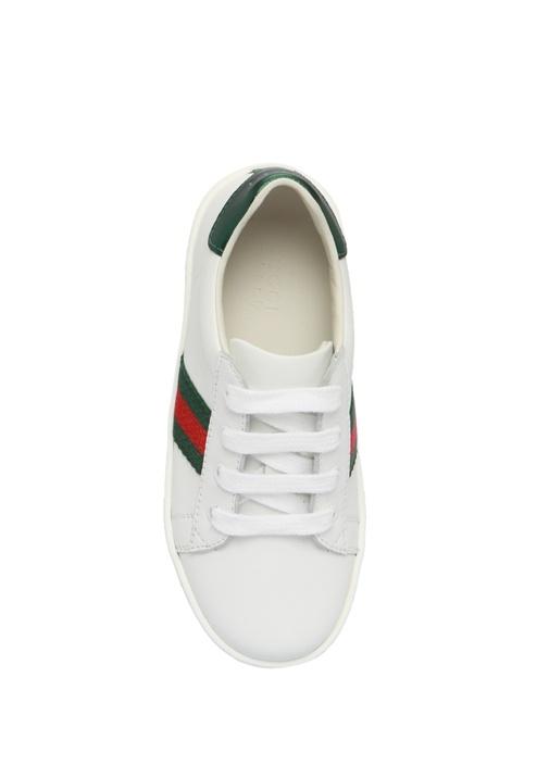 Beyaz Şeritli Unisex Çocuk Deri Sneaker