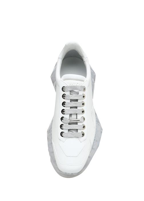 Diamond Beyaz Taban Detaylı Kadın Deri Sneaker