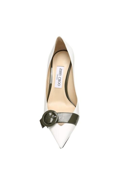 Leigh Beyaz Yeşil Deri Topuklu Ayakkabı