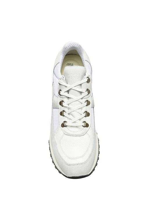 Sky Beyaz Garni Detaylı Erkek Deri Sneaker