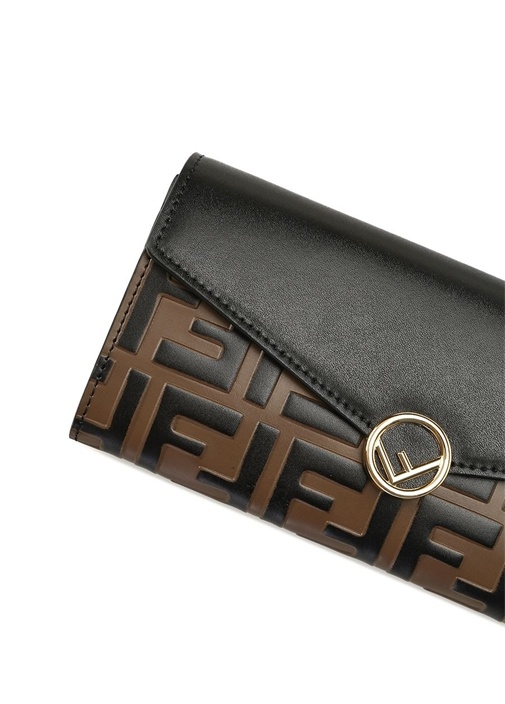 Siyah Kahverengi Logolu Kadın Deri Cüzdan