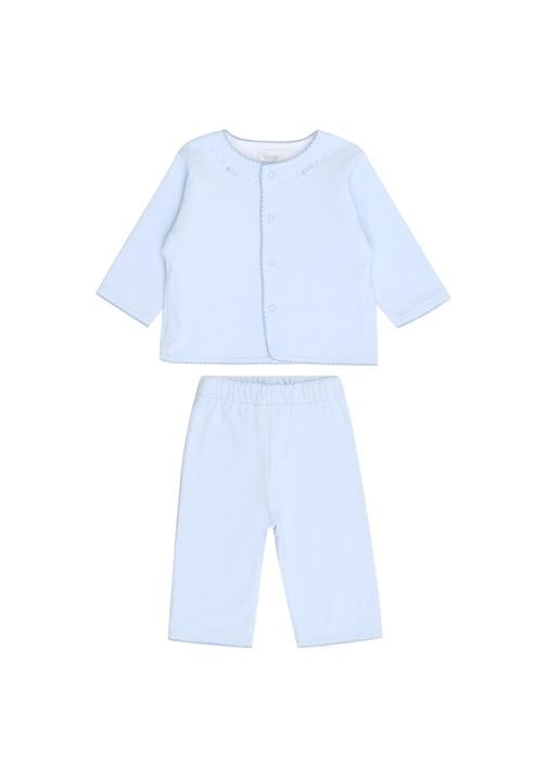 Mavi Nakış Detaylı Erkek Bebek Eşofman Takımı