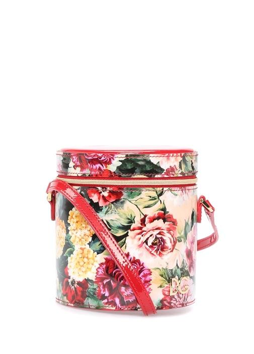 Kırmızı Çiçek Desenli Logolu Kız Çocuk Deri Çanta