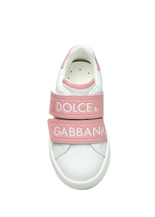 Beyaz Pembe Logolu Kız Çocuk Deri Sneaker