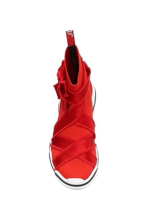 Glam Kırmızı Şeritli Çorap Formlu KadınSneaker