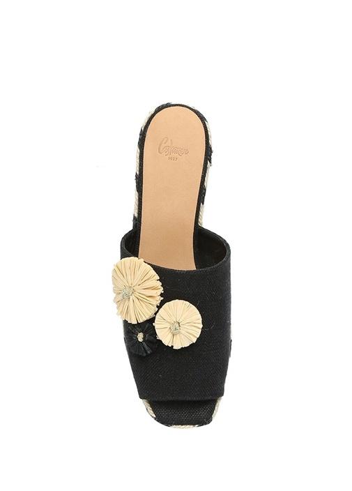 Quimey Siyah Çiçek Detaylı Kadın Keten Espadril