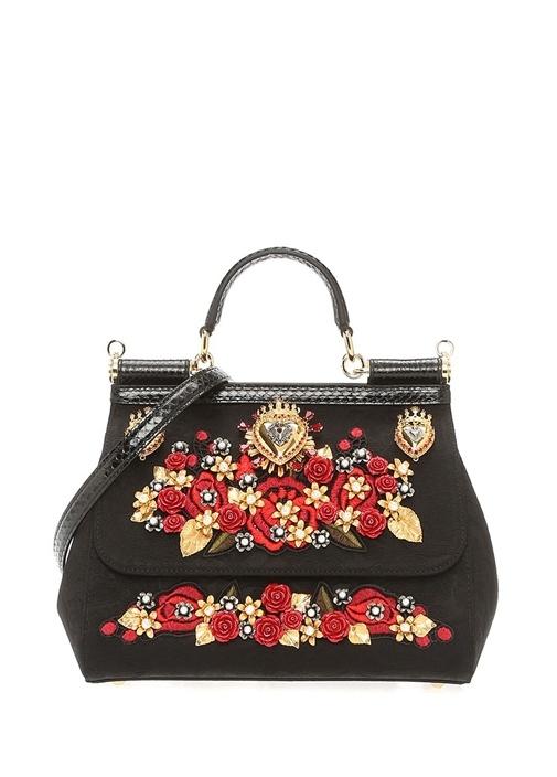 Sicily Siyah Çiçek Nakışlı İşlemeli Kadın Çanta
