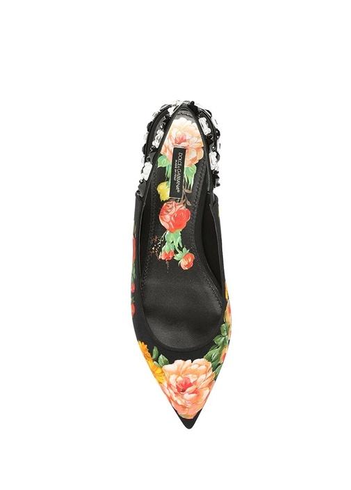 Siyah Çiçek Desenli Taşlı Kadın Babet