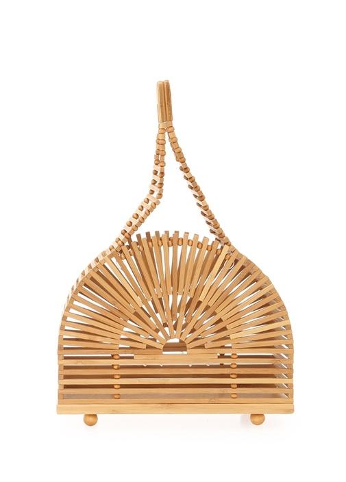 Dome Mini Bej Kadın Bambu Çanta