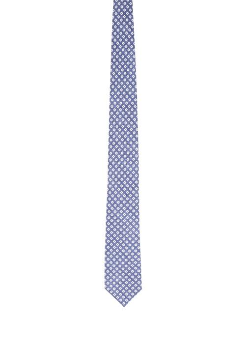 Lacivert Geometrik Desenli İpek Kravat
