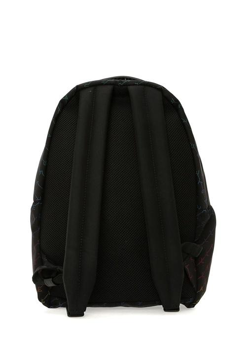 Siyah Renkli Logo Baskılı Kadın Sırt Çantası