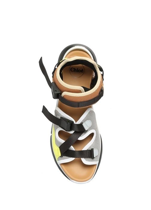 Colorblocked Garnili Kadın Deri Sandalet