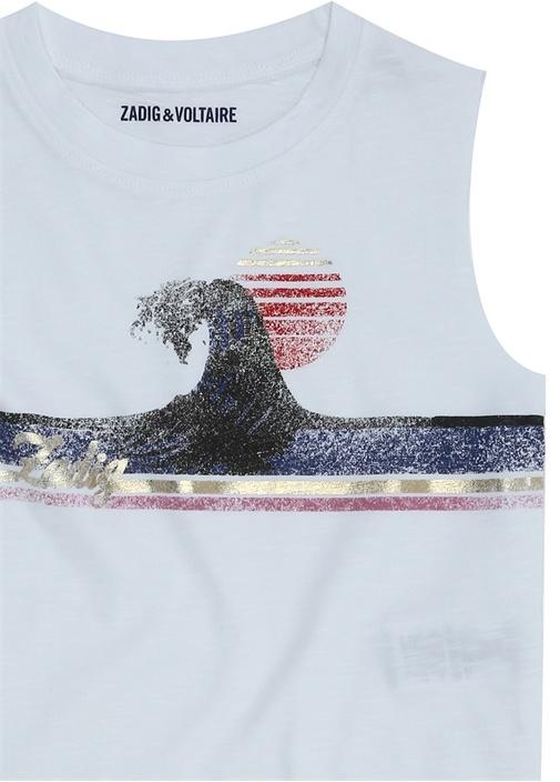 Beyaz Baskılı Kız Çocuk Basic T-shirt