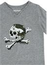 Gri Melanj Kuru Kafa Baskılı Erkek Çocuk T-shirt