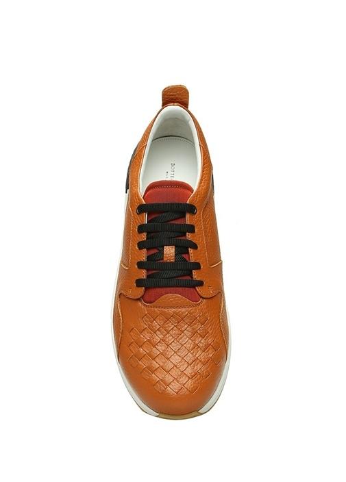 Taba Örgü Doku Detaylı Erkek Deri Sneaker
