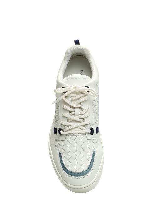 Beyaz Örgü Dokulu Erkek Deri Sneaker