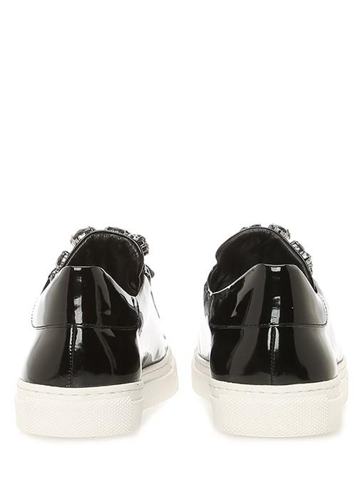 Siyah Taş Detaylı Kadın Rugan Sneaker