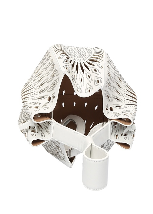 Beyaz Lazer Kesimli Ağzı Büzgülü Kadın Deri Çanta